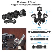 Articolazione Braccio Magico con Doppio Ballhead 1/4 3/8 Vite Monitor Regolabile Supporto Del Supporto Del Basamento Rig Vlogger Sfera di Cristallo