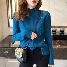 Knitted Turtleneck Button Split Women Pullovers Ribbed Long Sleeve Lady Elegant Sweaters 2020 Autumn Winter Female Knitwear Tops(China)