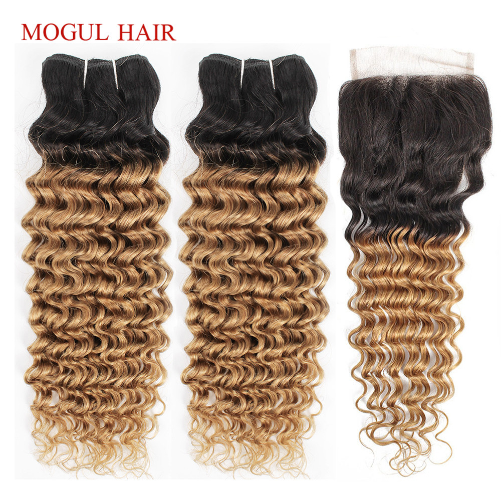 MOGUL HAIR Ombre Honey Blonde Bundles With Closure 1B 27 Brazilian Deep Wave Hair Ombre Brazilian Non Remy Human Hair Extension