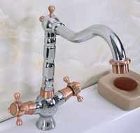 Cromo pulido antiguo cobre rojo latón dos asas un agujero lavabo de baño fregadero giratorio grifo mezclador grifo mnf903