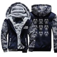 Star Wars Winter Camo Jacket Men Fleece Thick Warm