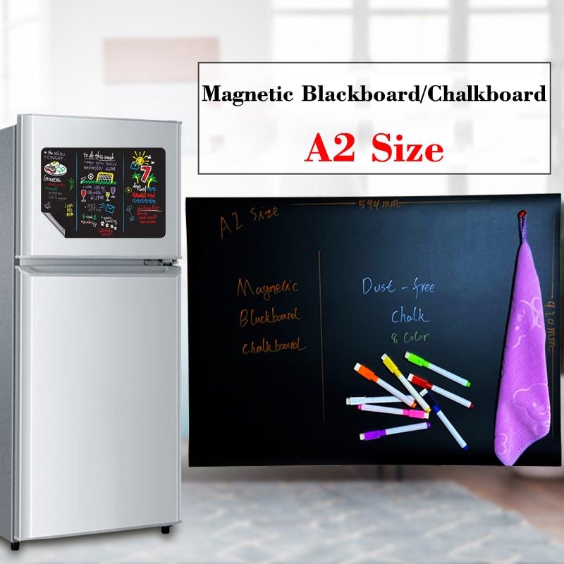 Pizarra magnética de tamaño A2, calendario de menú pizarrón, pegatina para nevera, pizarra de niños sin polvo