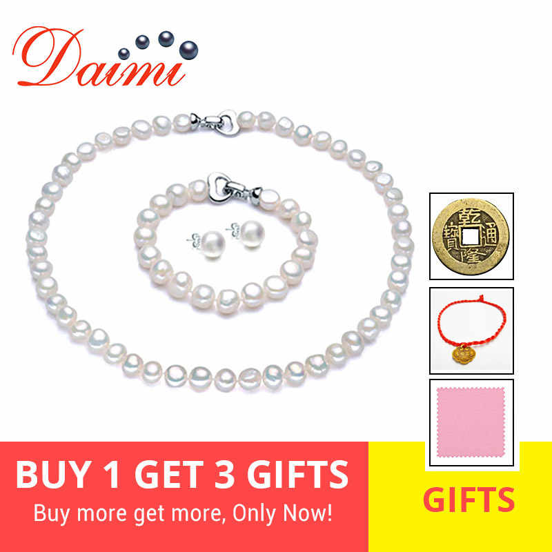 DAIMI Pearl Jewelry Sets Necklace Bracelet Earrings Baroque Pearl Sets For Women Party Jewelry Wedding Jewlery Christmas Gift