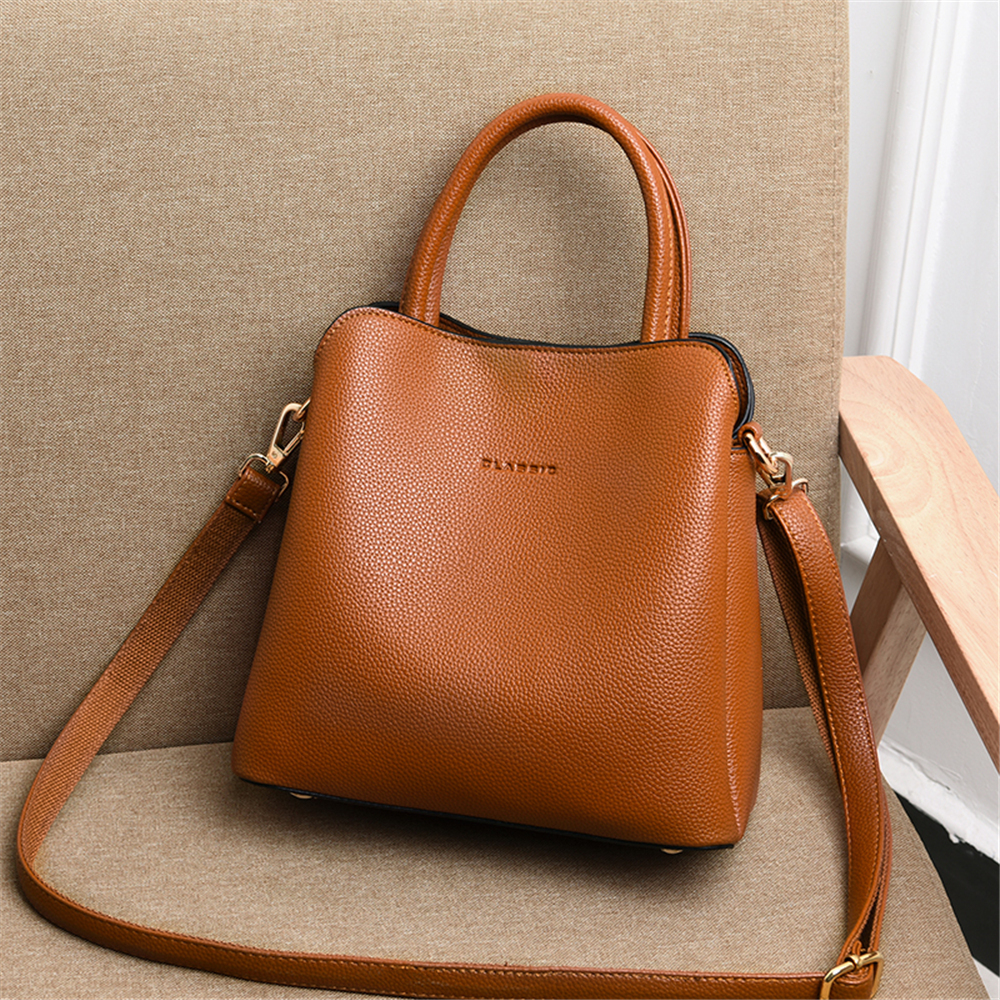 Image 2 - New 3 Main Pocket Leather Luxury Handbags Women Bags Designer  Female Croosbody Bags For Women Small Casual Tote Bag Sac A  MainTop-Handle Bags