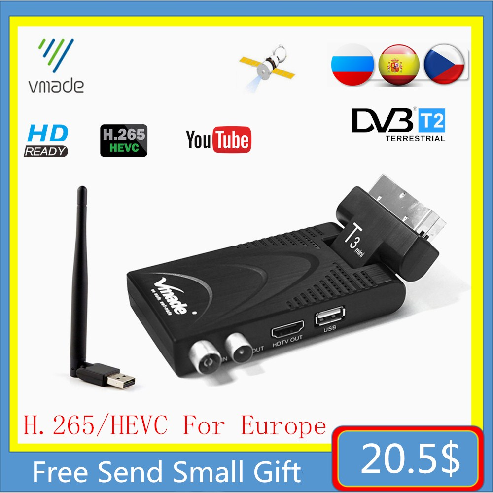 DVB-T2 DVB-T TV Receptor Fully 1080P Digital TV Tuner Receiver DVB T2 H.265 Terrestrial Decoder WIFI TV BOX Hot Sale Europe