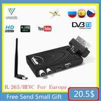 DVB-T2 DVB-T TV Receptor plenamente 1080P Receptor y sintonizador de televisión digital DVB T2 H.265 terrestre decodificador WIFI TV caja gran oferta de Europa