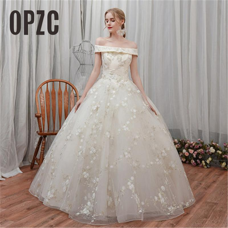 New Arriva Luxury Lace Floral Print Wedding Dress Vestidos De Novia Bride Sweetheart Dream Princess Off Shoulder Half Sleeve 7