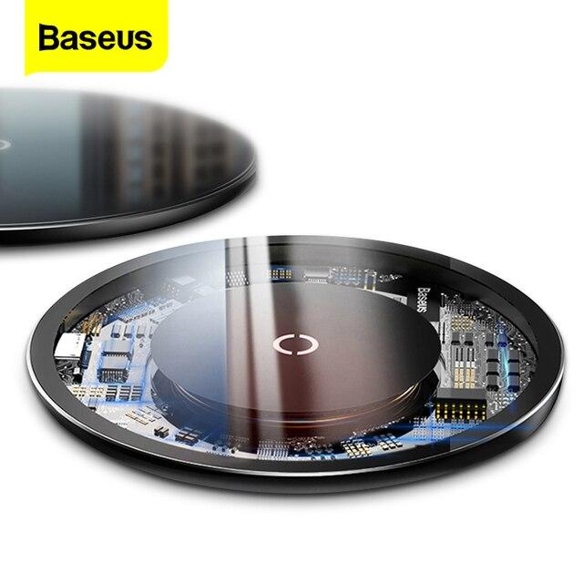 IPhone 11 Pro Max X 용 Baseus Qi 무선 충전기 삼성 S9 무선 충전 충전기 패드 용 유리 패널 무선 충전 패드
