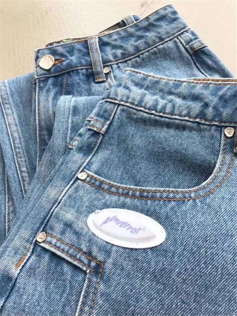 Blue Ader Error Denim Pants Men Women 1:1 Tags Slim Fit Adererror Jeans Hip-Hop Ader Error Cowboy Button Jeans