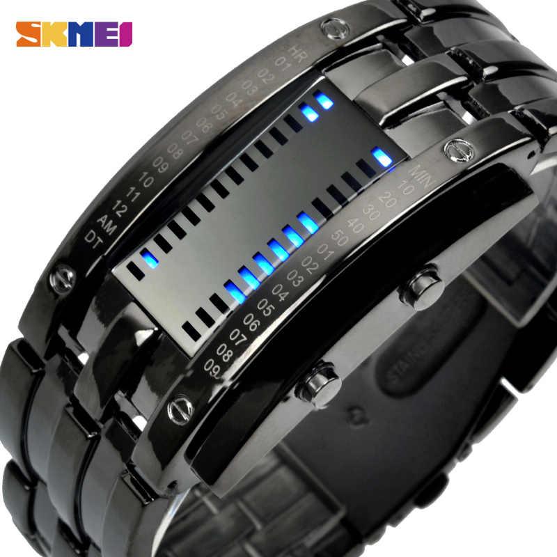 SKMEI אופנה Creative ספורט שעון גברים נירוסטה צמיד תכשיטי תצוגת LED שעונים 5Bar עמיד למים דיגיטלי שעון 0926