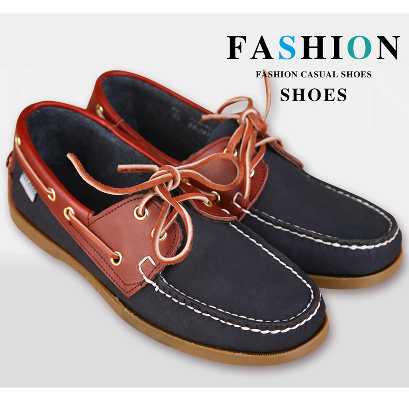 Mens Casual Genuine Leather Docksides Deck Lace Up Moccain Boat Loafers Shoes Driving Fashion Unisex Plus Size Wine Red