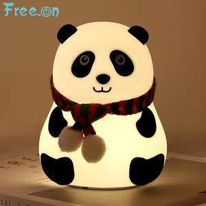 Lovely Panda Silicone Touch Sensor Night Light LED Kids Baby Lamps 7 Colors USB children's Night Lights For Girl Friend(China)