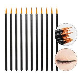 Image 1 - 50 adet naylon tek kullanımlık Eyeliner fırçası güzellik tırnak fırçası makyaj araçları Lipliner fırça aplikatör siyah makyaj fırçası aksesuarları