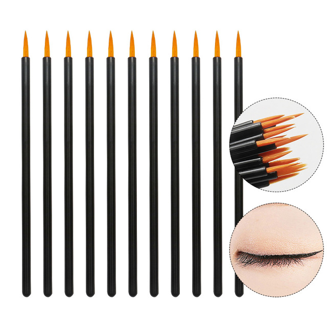 50 adet naylon tek kullanımlık Eyeliner fırçası güzellik tırnak fırçası makyaj araçları Lipliner fırça aplikatör siyah makyaj fırçası aksesuarları