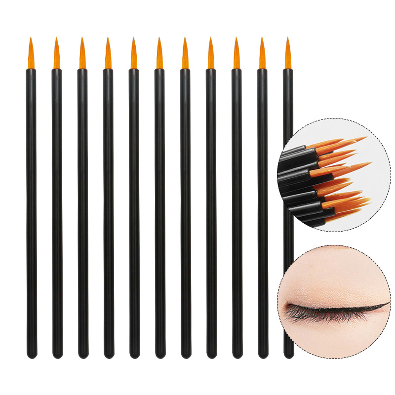 50pcs Nylon Disposable Eyeliner Brush Beauty Nail Brush Makeup Tools Lipliner Brush Applicator Black Makeup Brush Accessories