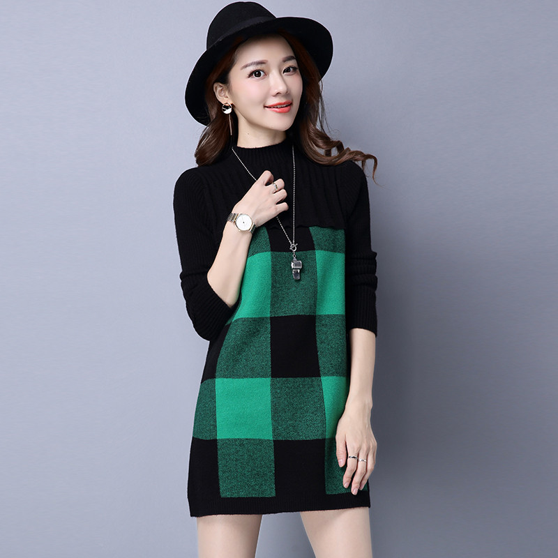 2020 Femme Pull Autumn Women Sweaters And Pullovers Plaid Thick Wool Sweater Knitted Loose Plus Size Winter Dress WXF581 Overs