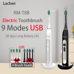 Lachen T8 Powerful Sonic Electric Toothbrush 9 Modes Rechargeable 4 Adult Tooth Brush 2 Min Timer Toothbrushing w/ Charging Base