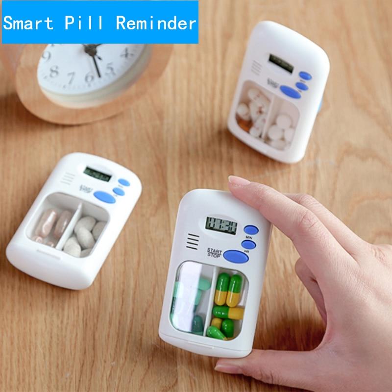Mini Portable Pill Reminder Drug Alarm Timer Electronic Box Organizer LED Display Alarm Clock Remind Small First Aid Kit Access