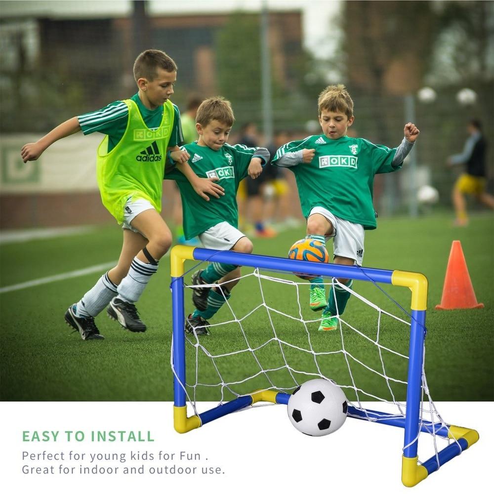 Folding Mini Football Soccer Ball Goal Post Net Set+Pump Kids Sport Indoor Home Outdoor Game Toy Child Birthday Gift Plastic New