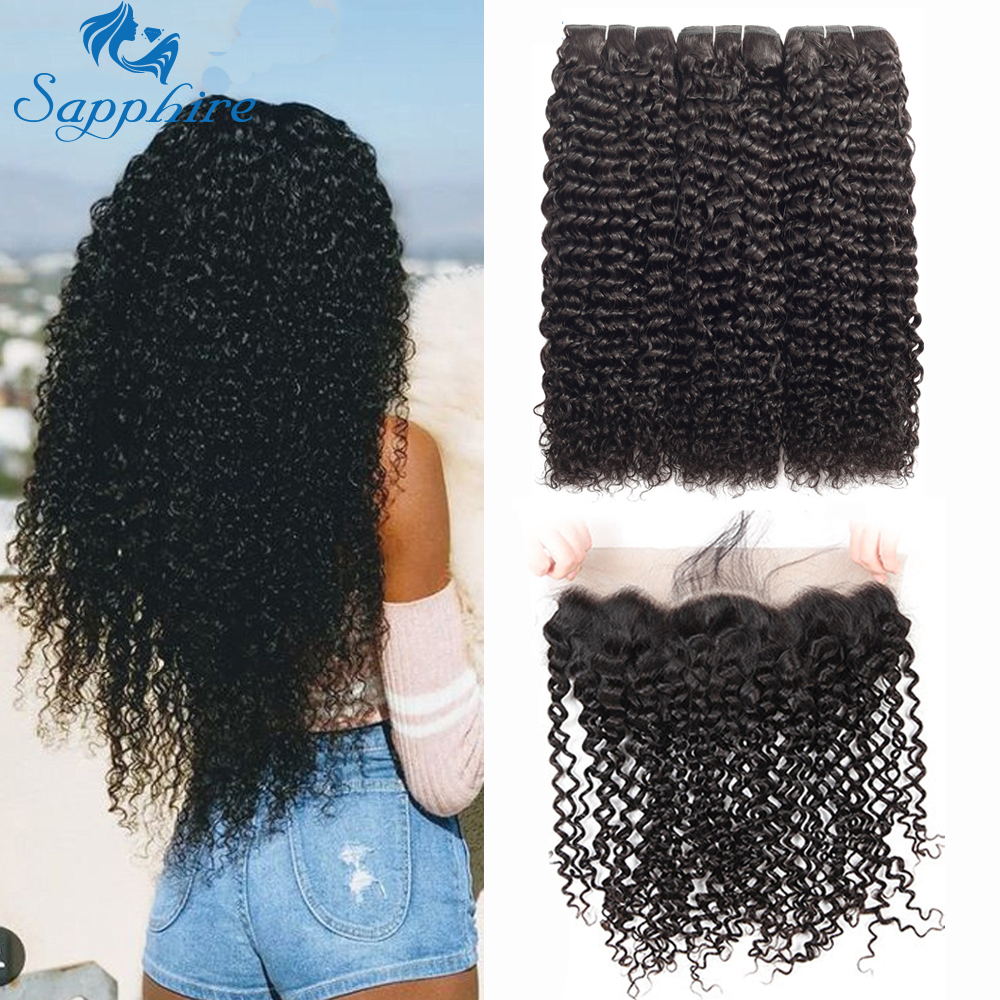 Sapphire Kinky Curly Bundles With Frontal Brazilian Hair Frontal With Bundles Human Hair Natural Color 3 Bundles With Frontal