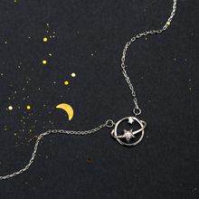 Silver Planet Star Pendant Necklace 925 AAA Zircon Hollow Universe Chain Women Friend Best Gifts