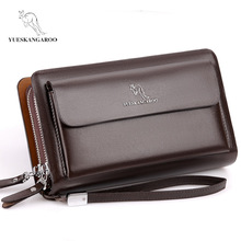 Double Zipper Men Clutch Bag Fashion Leather Long Purse men's Organizer Wallet cartera hombre Male Casual luxury Handy Bag