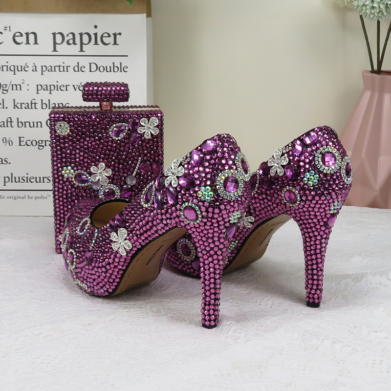 Women wedding shoes Bride purple crystal party shoes with matching bags fashion high heels platform shoes Round Toe Party shoes