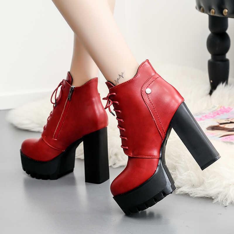 Vermelho preto bege inverno plataforma ankle boots mulheres 12 cm grosso calcanhar plataforma botas senhoras manter quente curto botas mulher