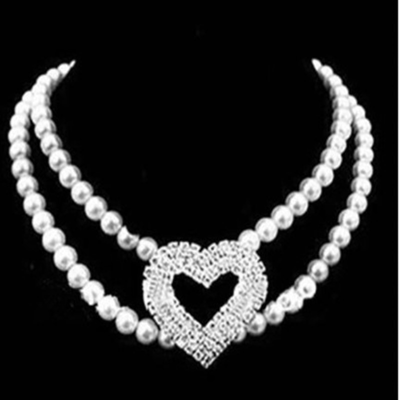 New Style Man-made Diamond Heart Shape Pearl Dog Collar Pet Decorations Dogs And Cats Necklace