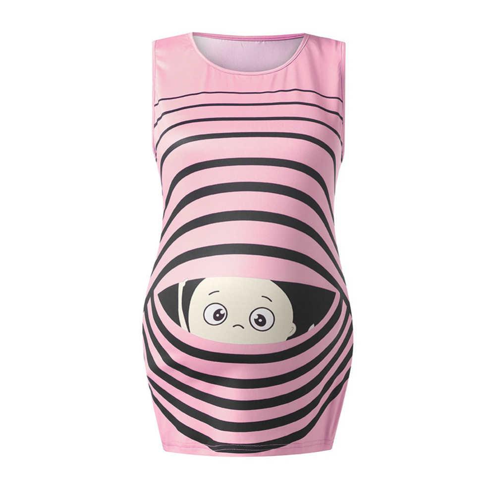 สตรีคลอดบุตรเด็กการ์ตูนลายแขนกุดฤดูร้อนการตั้งครรภ์เสื้อกั๊ก