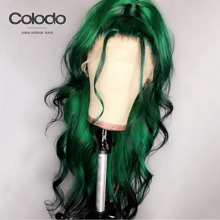 COLODO 13x4 Green Wig 180% Density Loose Wave Lace Front Wig Pre Plucked Brazilian Remy Glueless Human Hair Wigs For Black Women