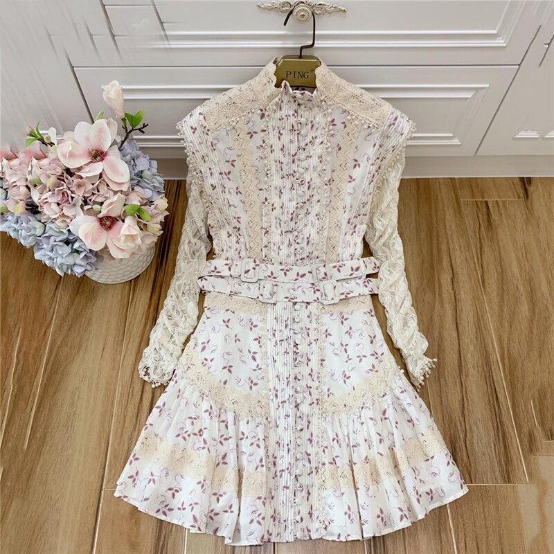 Kadın Giyim'ten Elbiseler'de GoodliShowsi High End Noble Kadınlar Boho Mini Elbise Çiçek Standı Yaka Dantel Patchwork Nakış Uzun Kollu Bayan Elbiseleri'da  Grup 1