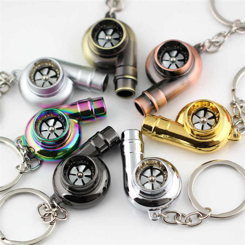 Real Fluitje Sound Turbo Sleutelhanger Glijlager Spinning Auto Deel Model Turbine Turbo Sleutelhanger Ring Sleutelhanger Sleutelhanger