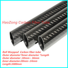 1000mm 3k Carbon Fiber Tube OD 30mm 32mm 33mm 34mm 35mm  36mm (Roll Wrapped) High Strength ,High Quality