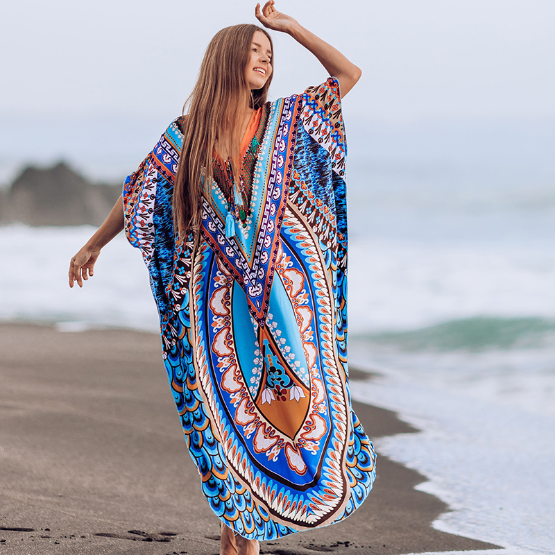 Swimsuit Cover Up 2020 Plus Size Bohemian Dress V Neck Tassel Summer Maxi Dress Beach Cover Up Robe Plage Beachwear Cover-ups