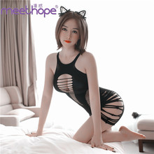 Sexy lingerie stretch stripes hollow one piece tight body dew backpack hip short skirt clothing sexy suit  temptation