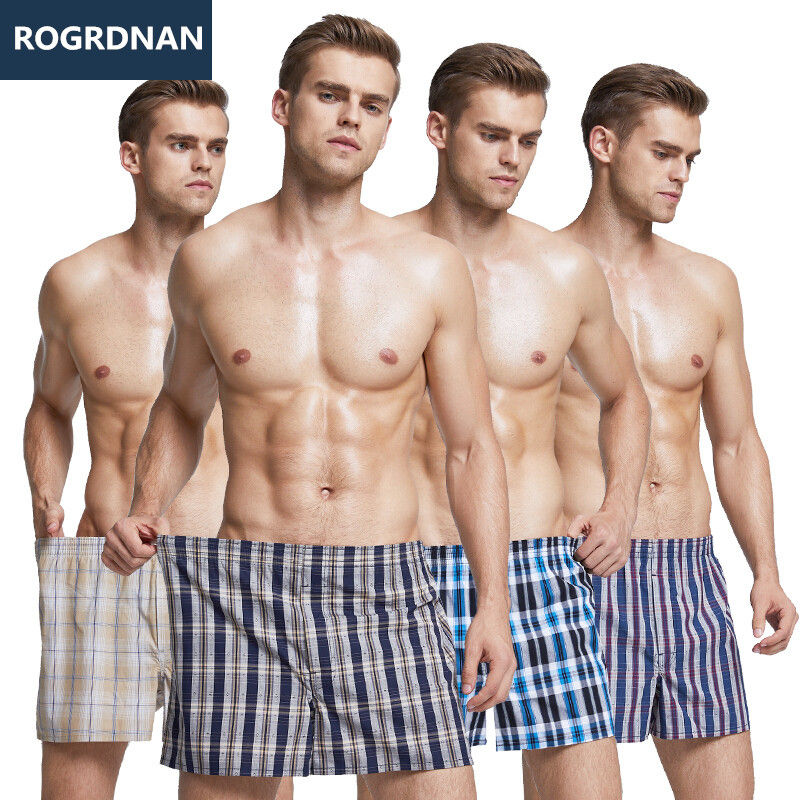 6 pc Men's Cotton Arrow Boxers Casual Plaid Print Elastic Waist Underwear Summer Loose Breathable Beach Pants Boxers Shorts