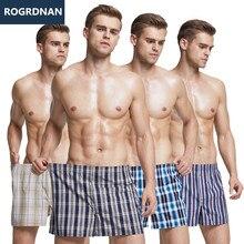 8 pcs Mens תחתונים מתאגרפים מכנסיים קצרים מזדמנים כותנה שינה תחתוני באיכות משובץ רופף נוח Homewear פסים חץ תחתונים