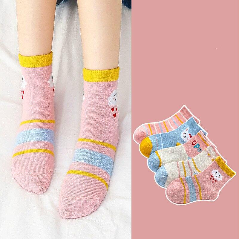 5Pair/lot Children Cotton Boys Girls Socks Cute Cartoon Pattern Kids Socks For Baby Boy Girl Sport Style Suitable For 1-10Y 6