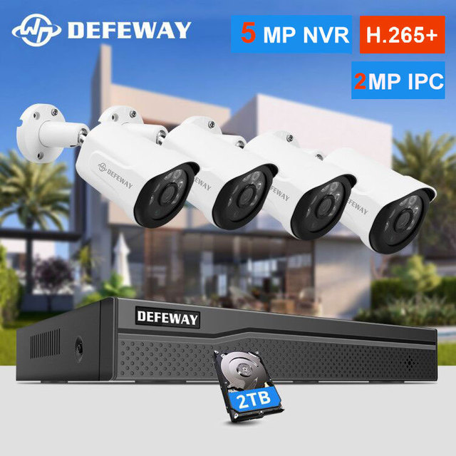 DEFEWAY H.265 + 8CH 5MP POE NVR نظام الكاميرا الأمنية عدة 4 قطعة 2MP IP كاميرا في الهواء الطلق مقاوم للماء CCTV المراقبة بالفيديو NVR مجموعة