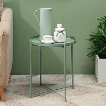 Metalowy okrągły stolik składany mały stolik zewnętrzny i wewnętrzny akcent stolik kawowy na małe przestrzenie sypialnia Patio salon tanie i dobre opinie CN (pochodzenie) STAINLESS STEEL Antique Retro nostalgia stare meble ROUND Montaż