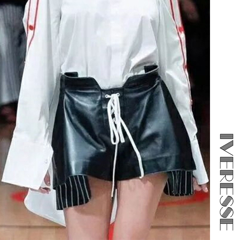 IVRESSE noir à lacets taille haute Shorts femmes automne asymétrique jambe large mode pantalon rayé faux deux pièces chaud Shorts
