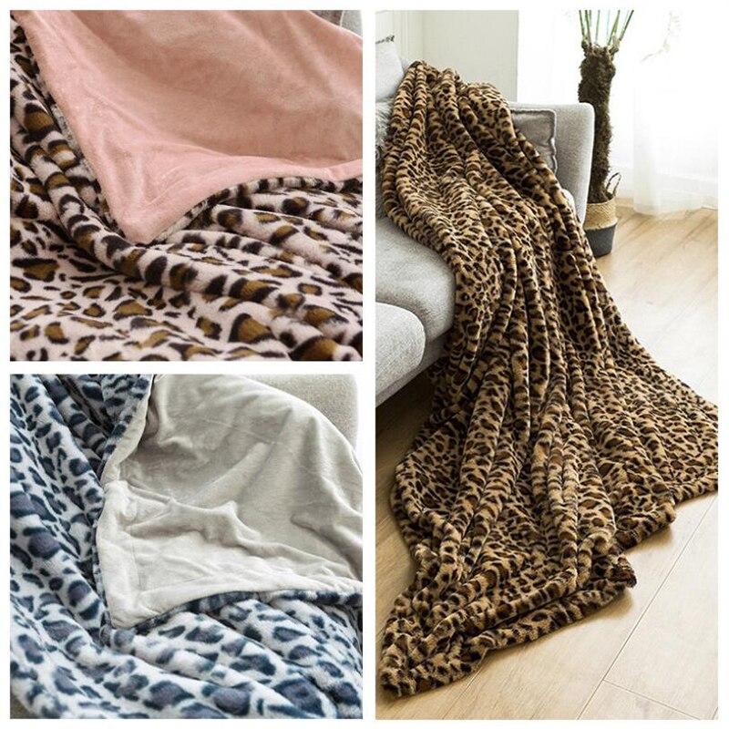 de viagem sofá leopardo impressão velo cobertores