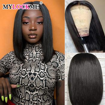 13 #215 4 Bob koronki przodu peruki brazylijski włosy ludzkie włosy 4 #215 4 zamknięcie koronki peruki prosto koronki przodu peruki dla czarnych kobiet MYLOCKME włosów tanie i dobre opinie Remy Ludzki Włos Proste CN (pochodzenie) Średnia wielkość Medium All Colors Swiss Lace Medium Brown Peruvian Hair Bob wig