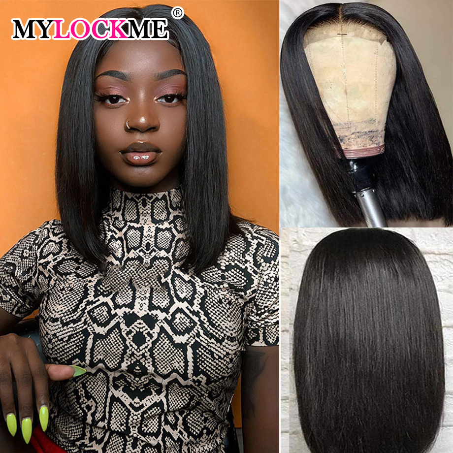 13x4 Bob Lace Front Wigs Brazilian Hair Human Hair 4x4 Lace Closure Wigs Straight Lace Front Wigs For Black Women MYLOCKME HAIR