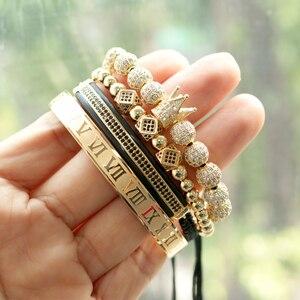 Image 3 - Hommes Bracelet bijoux 4 pièces/ensemble couronne breloques macramé perles Bracelets tressage homme luxe bijoux pour femmes bracelet cadeau
