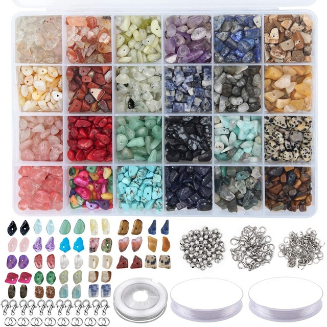 1323Pcs Irregular Gemstone Beads Kit with Spacer Beads Lobster Clasps Elastic Jump Rings for DIY Jewelry Making Supplies