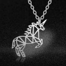 AAAA Quality 100% Stainless Steel Flying Unicorn Charm Necklace for Women Never Tarnish Jewelry Necklace Fashion Charm Necklaces(China)