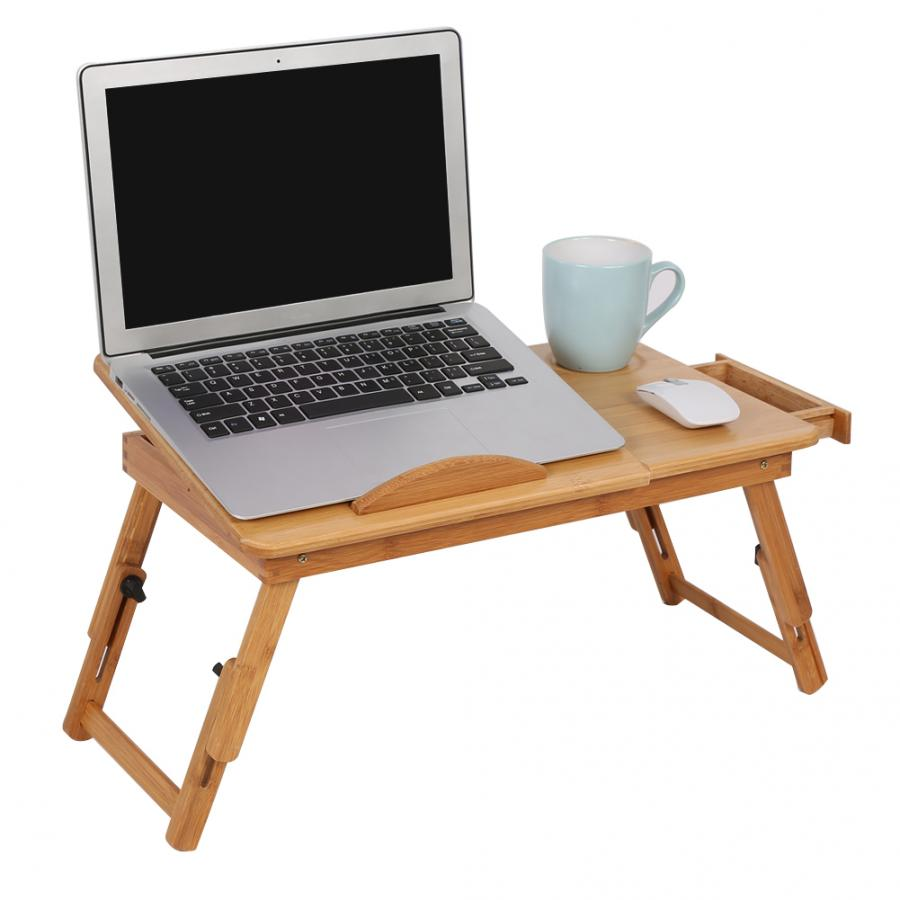 Adjustable Bamboo Rack Shelf Dormitory Bed Lap Desk Reading Tray Stand W//Drawer