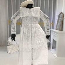 Новинка весны 2020 белое кружевное платье для женщин винтажное